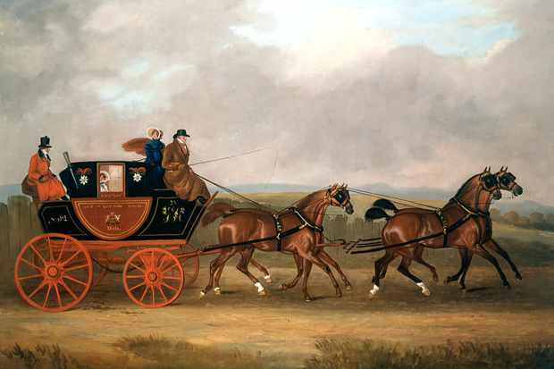 A postboy drives a mail coach in a contemporary illustration. Soon after their introduction in 1784, coaches were traversing the country at speeds of up to 10mph. (Photo by Ann Ronan Pictures/Print Collector/Getty Images)