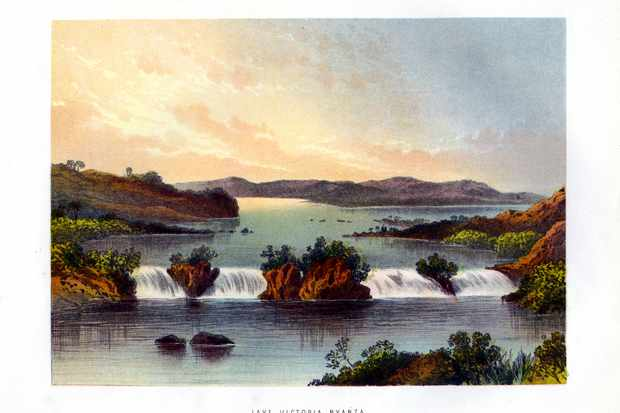 An 1860s coloured engraving of Lake Victoria's outflow at the Ripon Falls, which John Speke discovered in 1862 and correctly declared to be the source of the Nile. (Photo by The Print Collector/Print Collector/Getty Images)