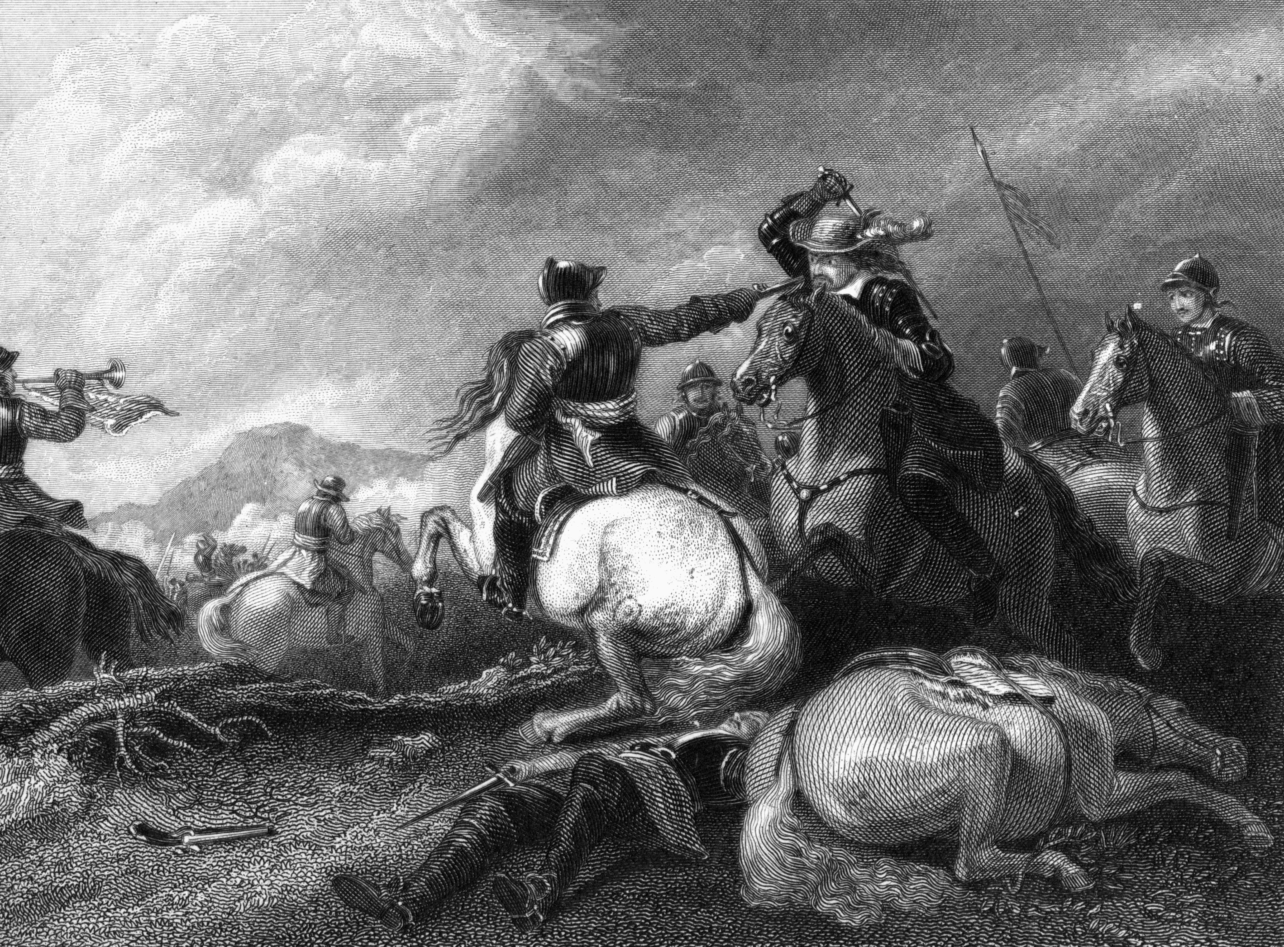 Oliver Cromwell at the battle of Marston Moor. (Photo by The Print Collector/Print Collector/Getty Images)