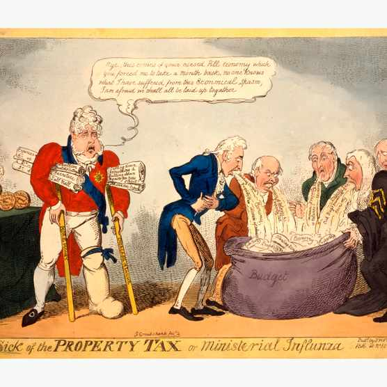 Ministers vomit taxes into a large bag labelled 'budget', while the Prince Regent lurks with a list of expenses in this illustration from 1816. (Universal History Archive/UIG via Getty Images)