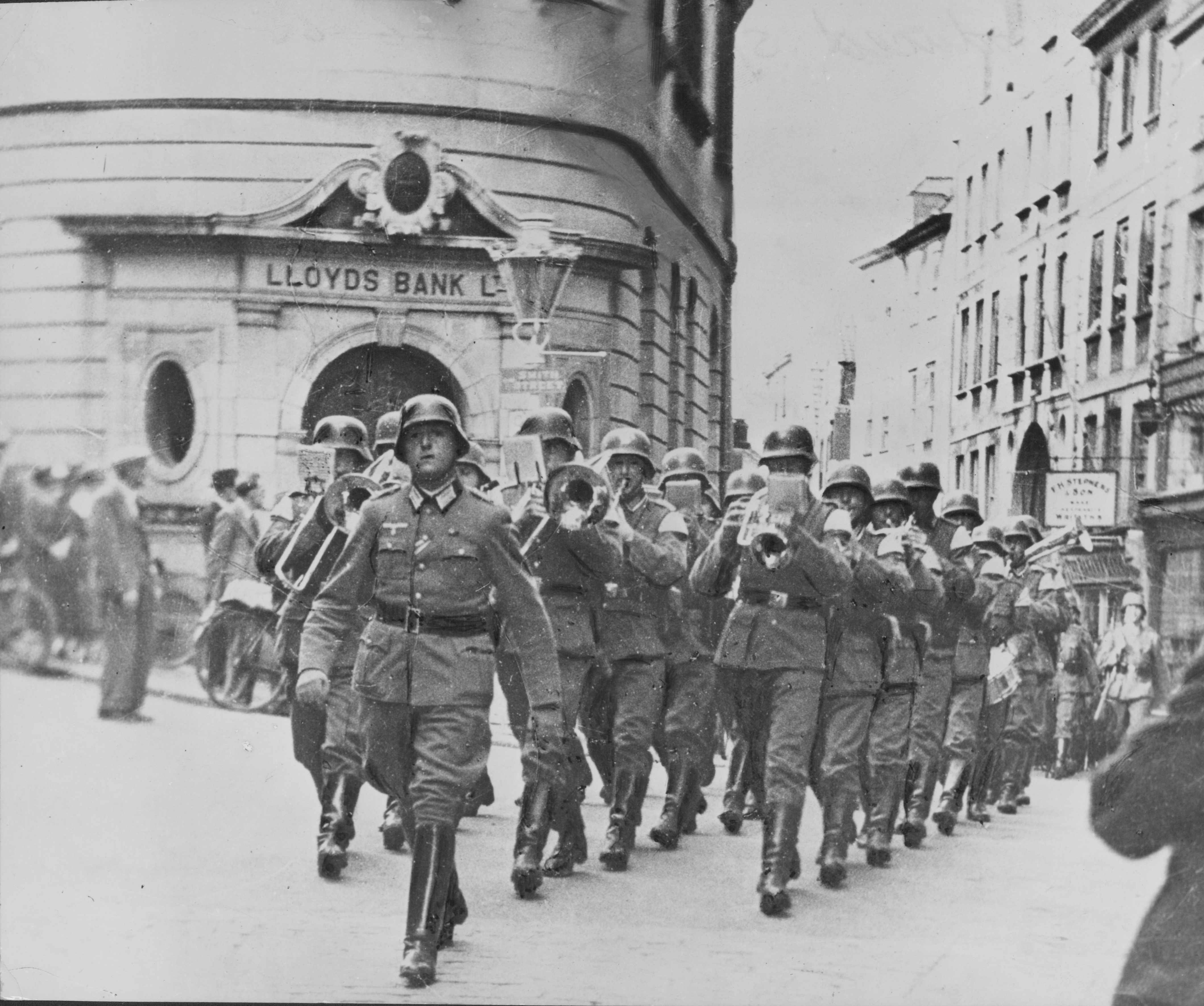 Nazis marching through Guernsey during the Second World War, 1940. (Photo by Express/Archive Photos/Getty Images)
