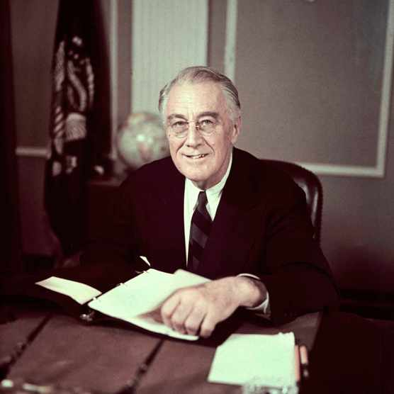 Pres. Franklin D. Roosevelt before broadcasting sixth War Loan Drive, in his office.  (Photo by George Skadding/The LIFE Picture Collection/Getty Images)