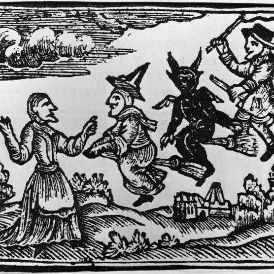 Circa 1400, A witch, a demon and a warlock fly towards a peasant woman with the aid of their broomsticks. Original Artwork: Woodcut from a chapbook. (Photo by Hulton Archive/Getty Images)