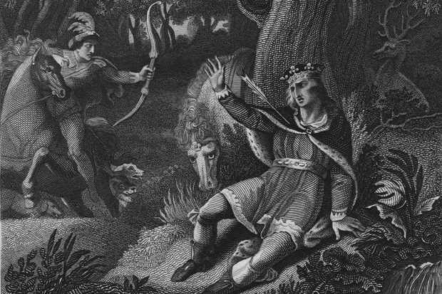 "An illustration depicting the death of William II at the hands of Walter Tirel. Although his death is thought to have been a hunting accident, some contemporary observers ""wondered whether Tirel had been put up to it by the king's brother Henry,"" says Dominic Sandbrook. (Hulton Archive/Getty Images)"