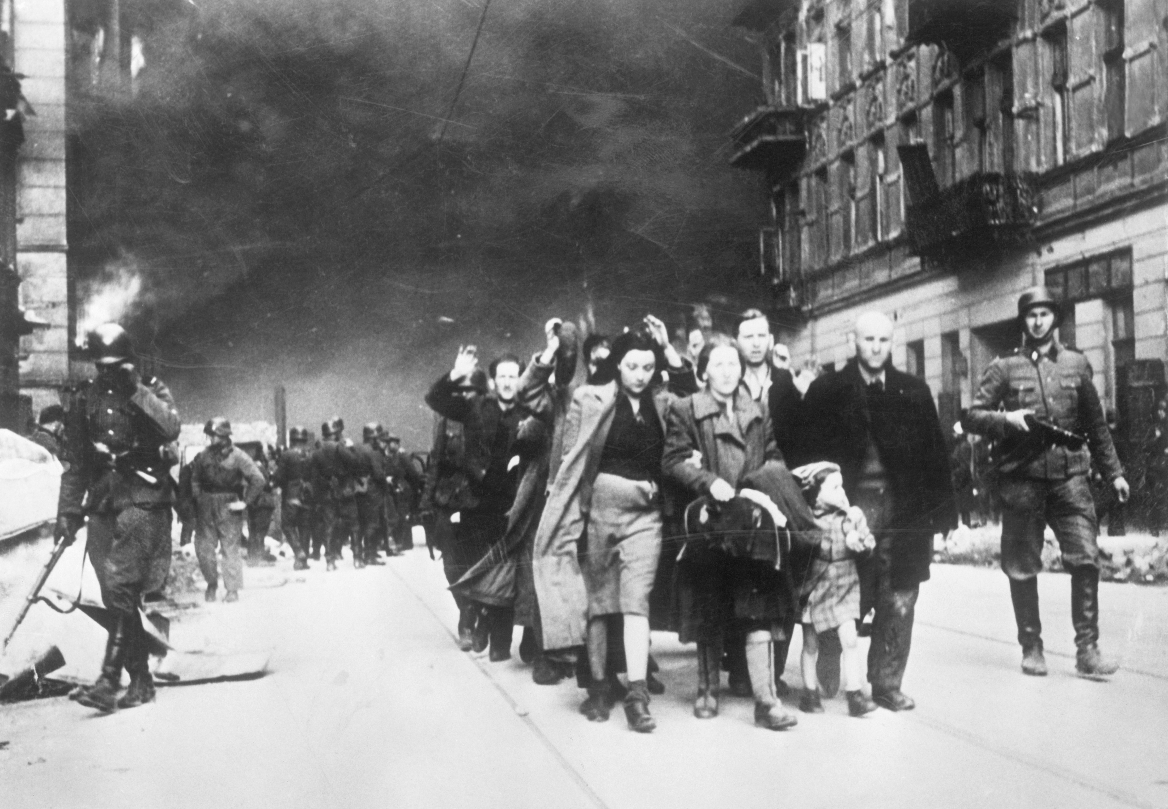 The Warsaw Ghetto, Poland, where hundreds of thousands of Jews were forced to live before they were sent to concentration camps as part of Adolf Hitler's 'final solution'. (Bettmann/Getty Images)