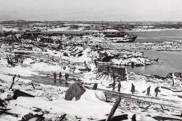 The ruins of the Canadian port of Halifax in the wake of the explosion in December 1917. Almost 2,000 people were killed and 9,000 injured when two ships collided at the height of the First World War. (Photo by Bettmann/Contributor/Getty Images)