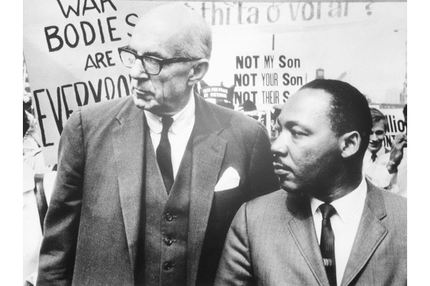 Dr Benjamin Spock, an American paediatrician, and Rev Dr Martin Luther King lead nearly 5,000 marchers through the Chicago Loop in protest of the US policy in Vietnam in 1967. King's allies were aghast that he would alienate the federal government by criticising the Vietnam War. (Photo by Bettmann/Getty Images)