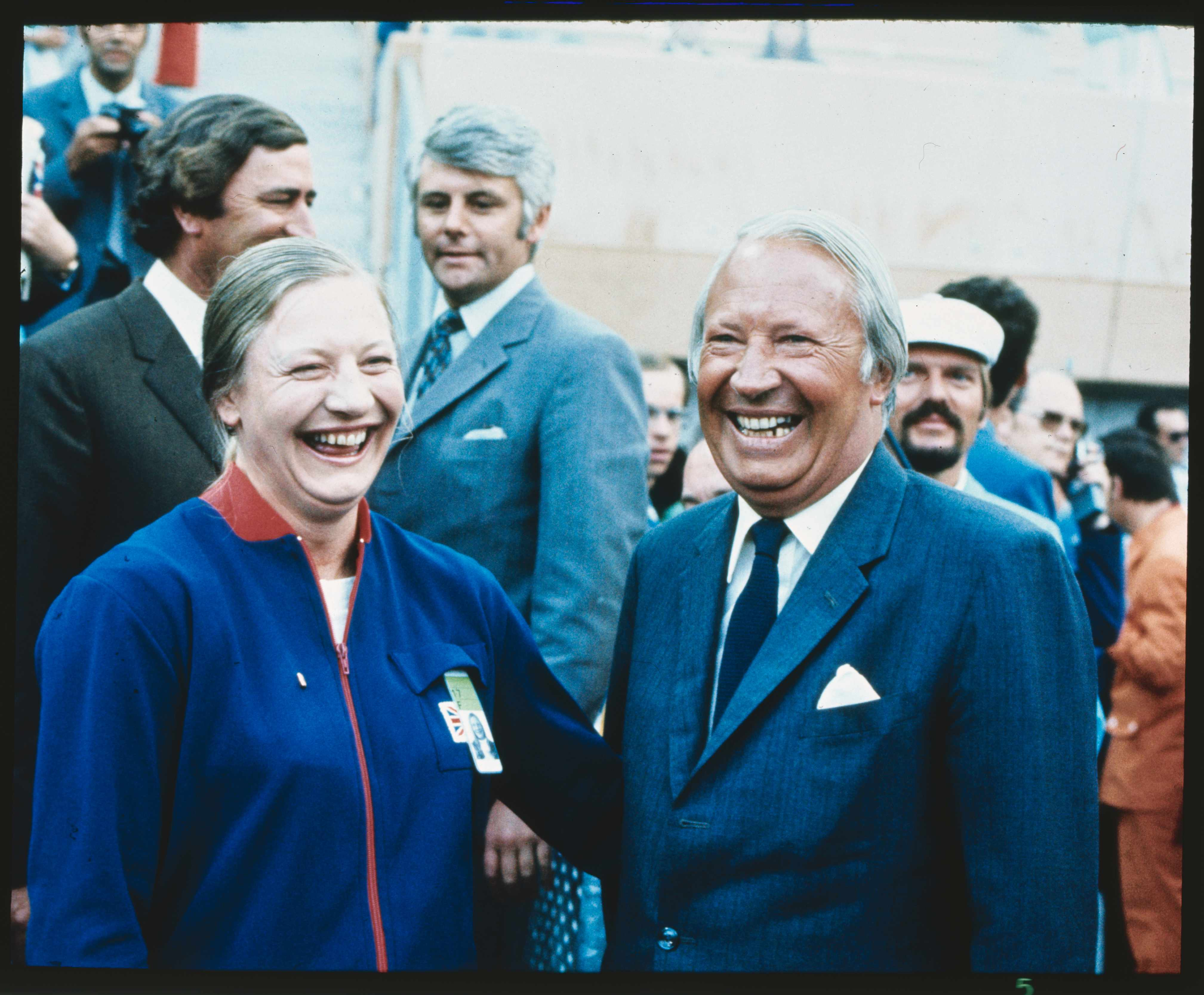 British prime minister Edward Heath with Olympic gold medal winner Mary Peters. (Bettmann/Getty Images)