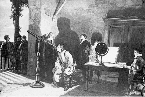 Painting by Gatti of Galileo Galilei at a Florentine Court. Galileo lectures as a young man peers into a telescope and others watch in a darkened room. (Image by Bettmann/Getty Images)