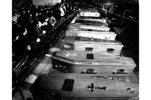 The remains of the 13 people who were shot dead by the British Army in Derry on Bloody Sunday,30/01/1972 at the removal of their remains to the church in Derry on 02/02/1971. (Part of the Independent Newspapers Ireland/NLI Collection). (Photo by Independent News and Media/Getty Images)