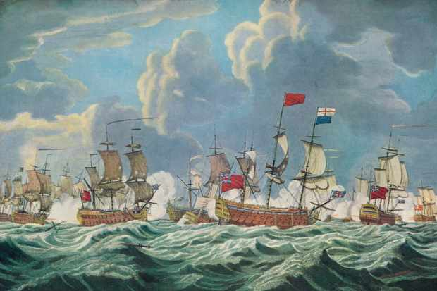 'Battle of Quiberon Bay' (c1765), from 'Old Naval Prints' by Charles N Robinson and Geoffrey Holme (The Studio Limited, London), 1924. (Photo by Print Collector/Getty Images)