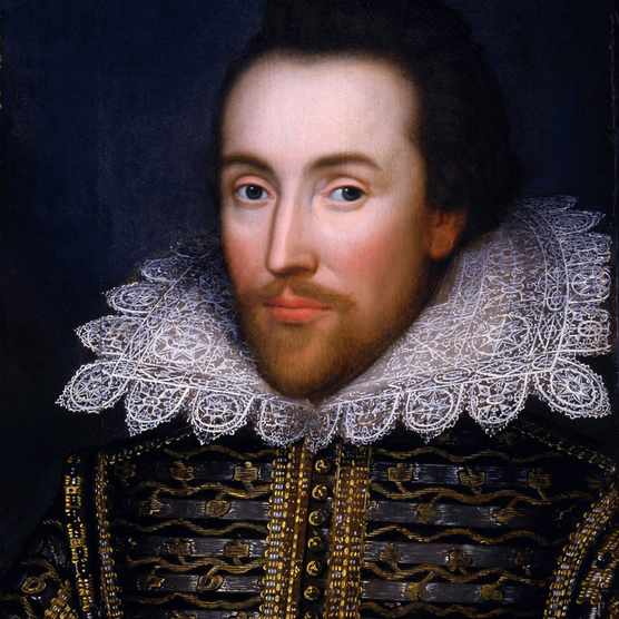 "The ""Cobbe Portrait,"" thought to be the only portrait of William Shakespeare painted during his lifetime, circa 1612, oil on panel, unknown artist. The Latin legend ""Principum amicitias!"" included at the top of the portrait translates as ""The Friendships of Princes!"" and is thought to be a quote from Horace's Odes, book 2, ode 1. (Photo by VCG Wilson/Corbis via Getty Images)"