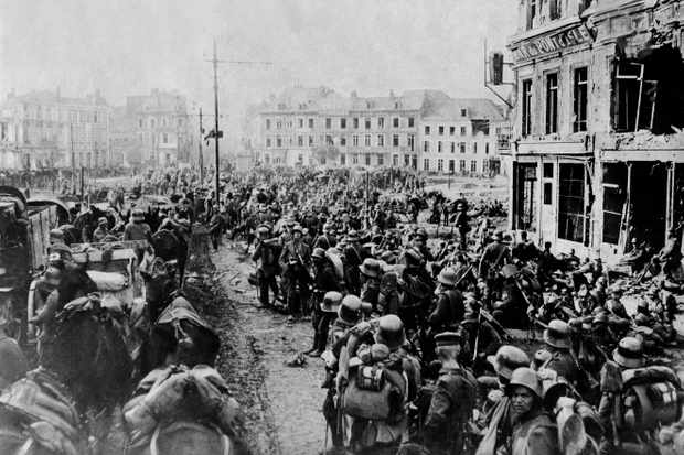 German Spring Offensive: reserve troops in Saint Quentin on their way to the front, March 1918. (Photo by ullstein bild/ullstein bild via Getty Images)