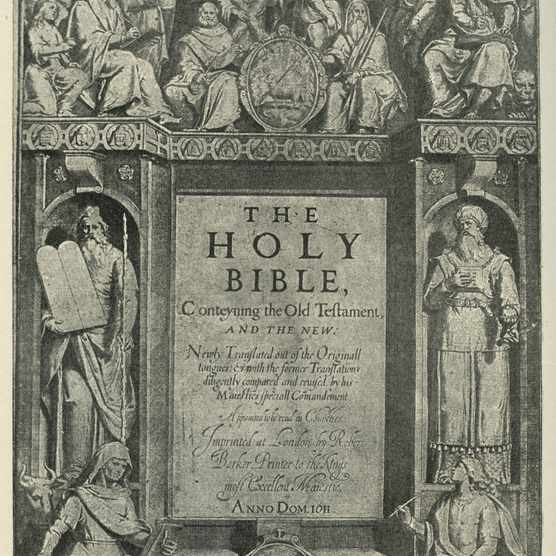 An engraving of the frontispiece to the first edition of the King James Bible. Published in 1611, the Bible was soon to become required reading across the English-speaking world. (Culture Club/Getty Images)