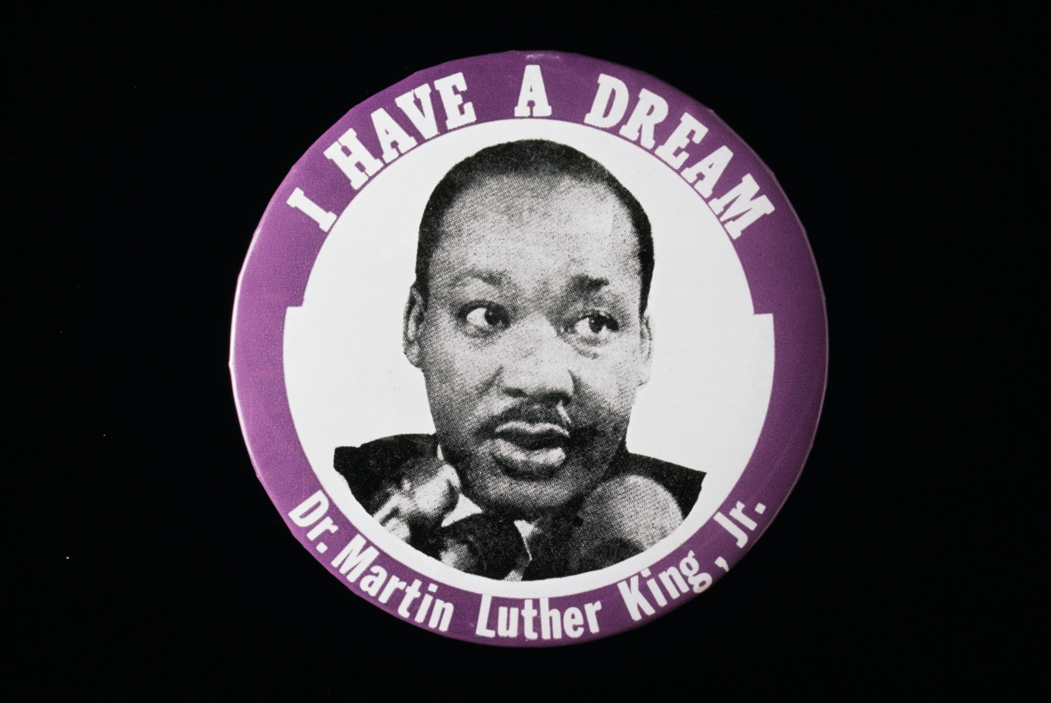 A badge featuring American civil rights activist Martin Luther King