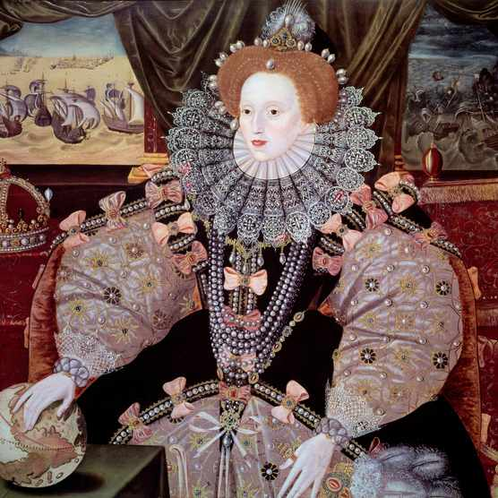 Portrait of Queen Elizabeth I (the First) (1533-1603) of England known as the Armada portrait. Painting by Marcus Gheeraerts (also written as Gerards or Geerards) (1561-1635), oil on panel, c. 1588. Greenwich National Maritime Museum, UK (Photo by Leemage/Corbis via Getty Images)