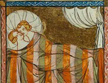 A couple get amorous in this 14th-century illustration