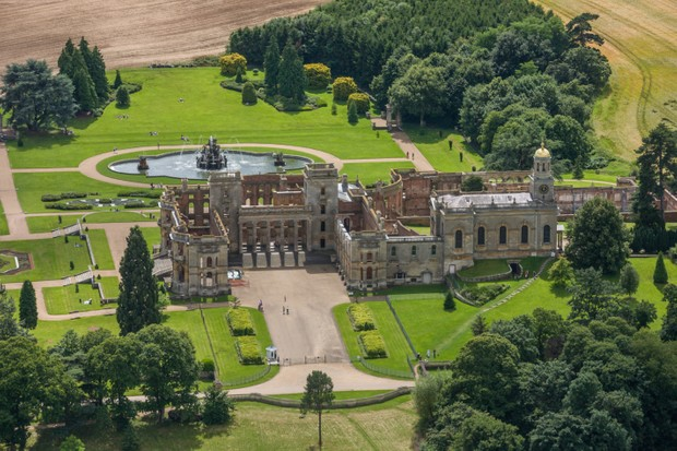 Aerial photograph of the ruined manor house Witley Court. (Photo by David Goddard/Getty Images)