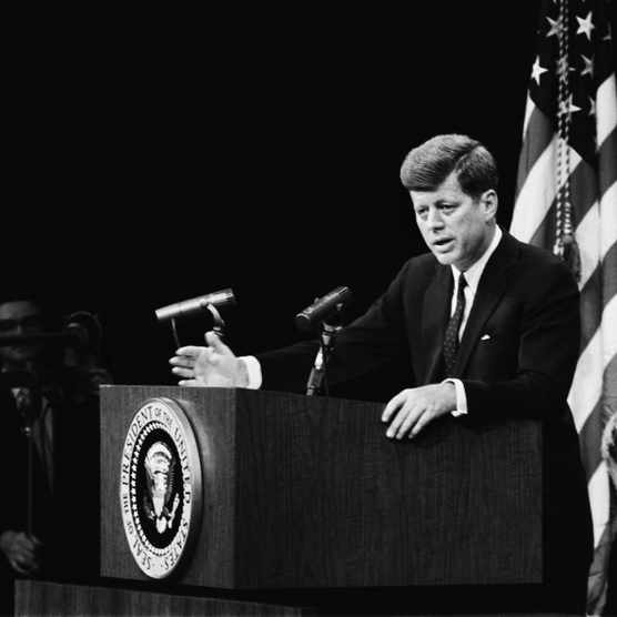 President Kennedy holds a press conference shortly before the failed 'Bay of Pigs' invasion of Cuba. (Photo by Michael Ochs Archives/Getty Images)