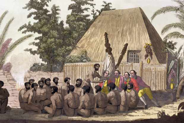 An illustration depicting inhabitants of Hawaii making an offering to Captain Cook