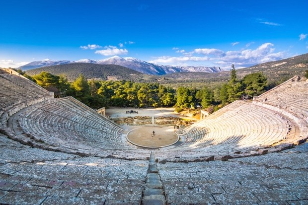 "The ancient theatre of Epidaurus (or ""Epidavros""), Argolida prefecture, Peloponnese, Greece. (Photo by Gatsi via Getty Images)"