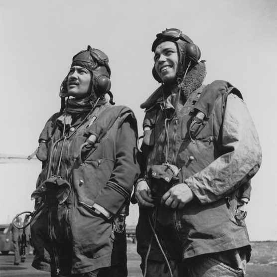 Two RAF pilots during the Battle of Britain. (Photo by Central Press/Hulton Archive/Getty Images)