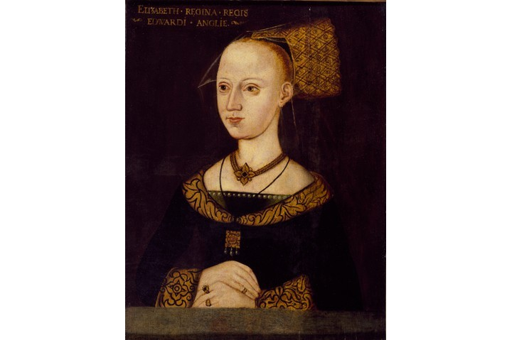 An oil on panel portrait of Elizabeth Woodville