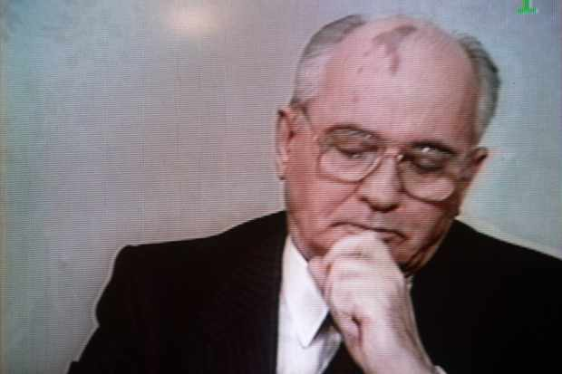 Christmas Day 1991: Soviet premier Mikhail Gorbachev broadcasts a message to his people announcing his resignation and the imminent dissolution of the USSR. (TV GRAB/AFP/Getty Images)