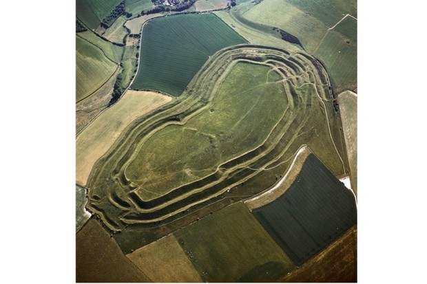 An aerial image of Maiden Castle, site of Britain's largest hillfort. (Photo by Robert Harding/Getty Images)