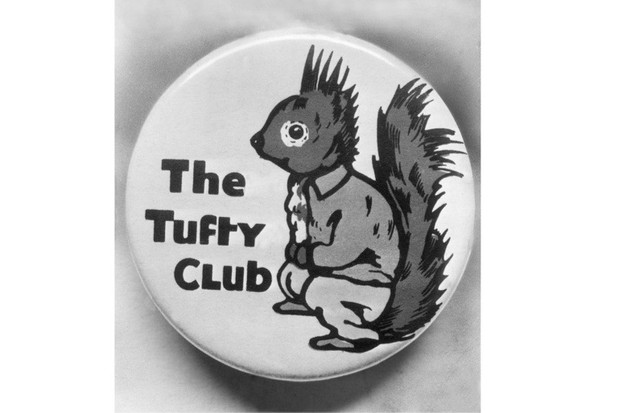 A badge promoting the Tufty Club, an organisation launched by the Royal Society for the Prevention of Accidents to educate children on road safety, 1941. (Photo by Evening Standard/Getty Images)