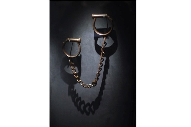 Shackles that were used to tether slaves, on display at the International Slavery Museum. (Photo by Christopher Furlong/Getty Images)