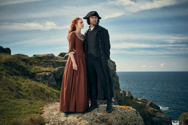 Aidan Turner (as Poldark) and Eleanor Tomlinson (as Demelza) in the BBC period drama 'Poldark'. (Photo by Mammoth Screen/BBC)