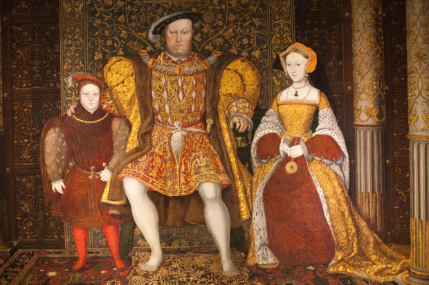 Henry VIII, Jane Seymour and their son – the future Edward VI – sit at the centre of a family portrait