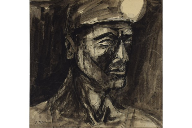 An ink portrait of a 20th-century miner