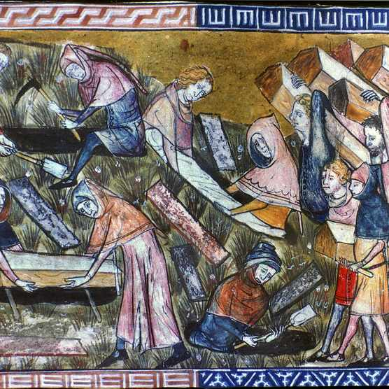 A 14th-century Flemish illustration depicting the burying of plague victims in coffins in Tournai in 1349. (Photo by Granger Historical Picture Archive/Alamy Stock Photo)