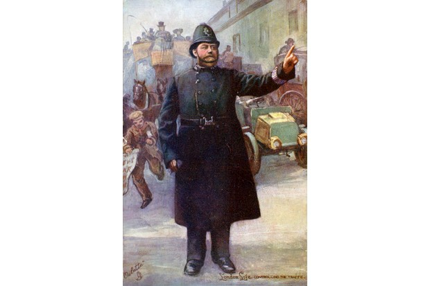 An illustration showing a London policeman, dressed in blue, directing traffic.