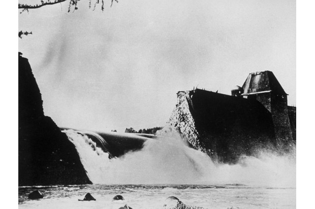 The breached Möhne dam, following the Dambusters raid in 1943