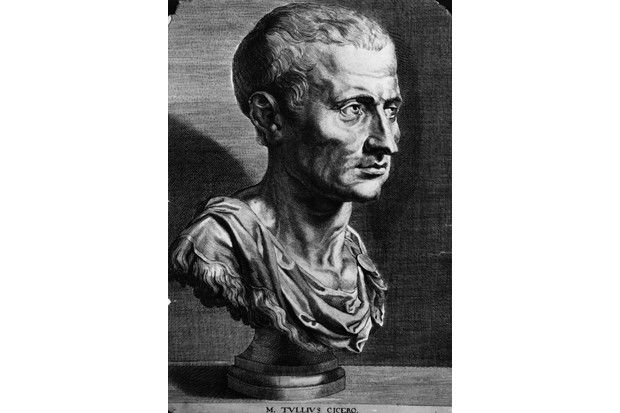 A black and white illustration showing a bust of Marcus Tullius Cicero, the Roman orator and statesman.