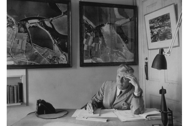 Aeronautical engineer Barnes Wallis, photographed in his study