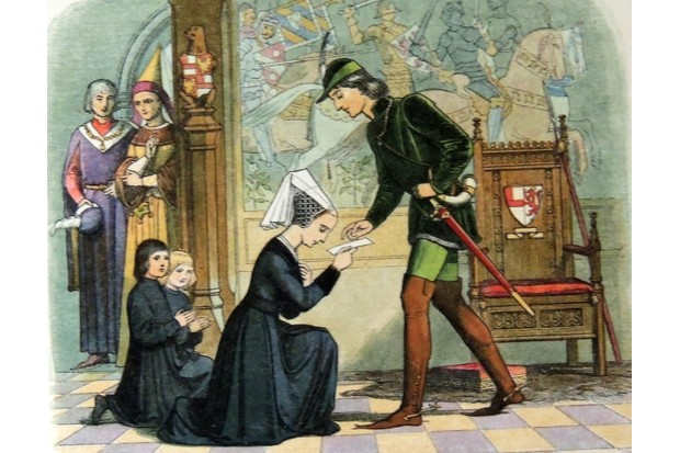 An illustration of Elizabeth Woodville with Edward IV, c1464.