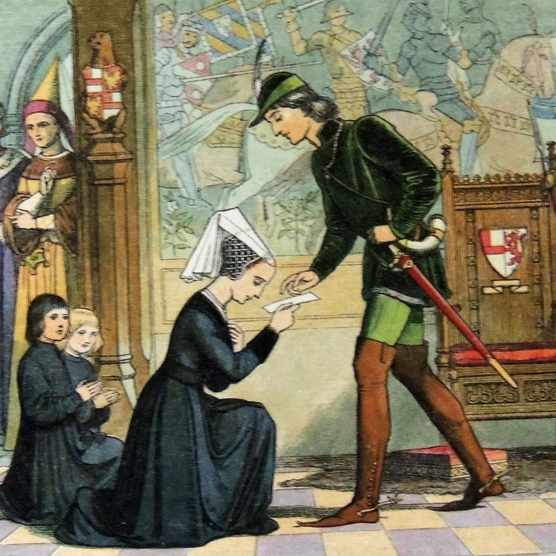 An illustration of the widowed Elizabeth Woodville begging Edward IV for her marital lands. (Photo by Universal History Archive/UIG via Getty Images)