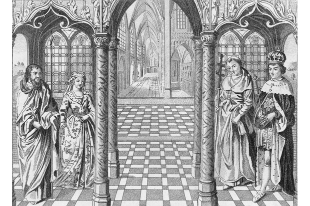 An illustration depicting the wedding of the first Tudor king, Henry VII, to Elizabeth of York. (Photo by Hulton Archive/Getty Images)