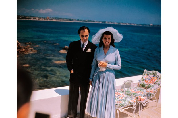 Rita Hayworth and Prince Aly Khan, photographed at their wedding reception at the Chateau De L'Horizon, France