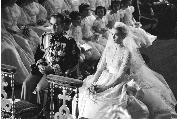 Hollywood star Grace Kelly and Prince Rainier of Monaco during their wedding ceremony at the Cathedral of Saint Nicholas, Monte Carlo, Monaco