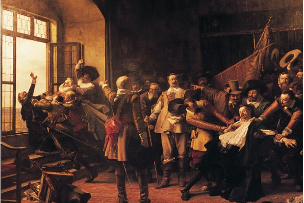 A painting of the 1618 Defenestration of Prague. (Photo by Christophe Boisvieux/Corbis via Getty Images)