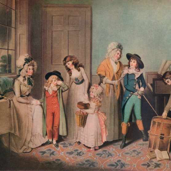 A Georgian painting depicting children leaving for school