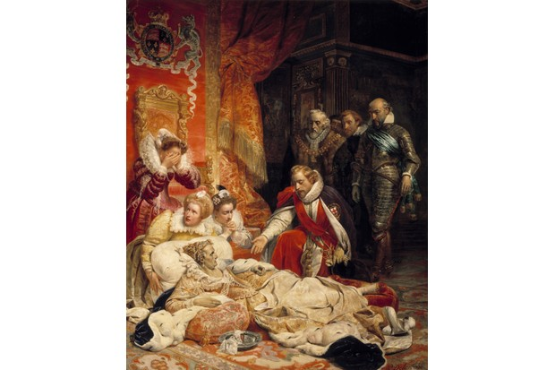 The death of Elizabeth I, Queen of England, in 1603. Queen Elizabeth died of depression and disease on 24 March 1603 surrounded by his courtiers. Painting by Paul Delaroche (1797-1856), 1828. 4,22 x 3,43 m. Louvre Museum, Paris (Photo by Leemage/Corbis via Getty Images)