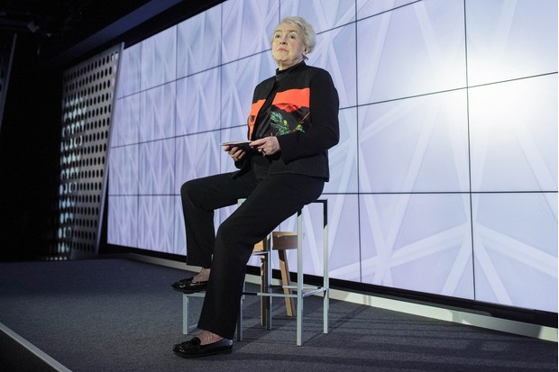 Stephanie Shirley, chairman of FI Group Plc, speaks during an event at Google Inc.'s Kings Cross office in London, U.K., on Tuesday, Nov. 15, 2016. After being criticized for not paying its fair share of British tax, Alphabet Inc.s Google unit is trying to show its a good corporate citizen by offering five hours of free digital skills training to all U.K. residents. Photographer: Simon Dawson/Bloomberg via Getty Images