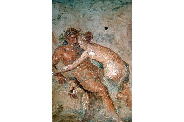 An ancient Roman painting showing a man and woman during the act of sex.
