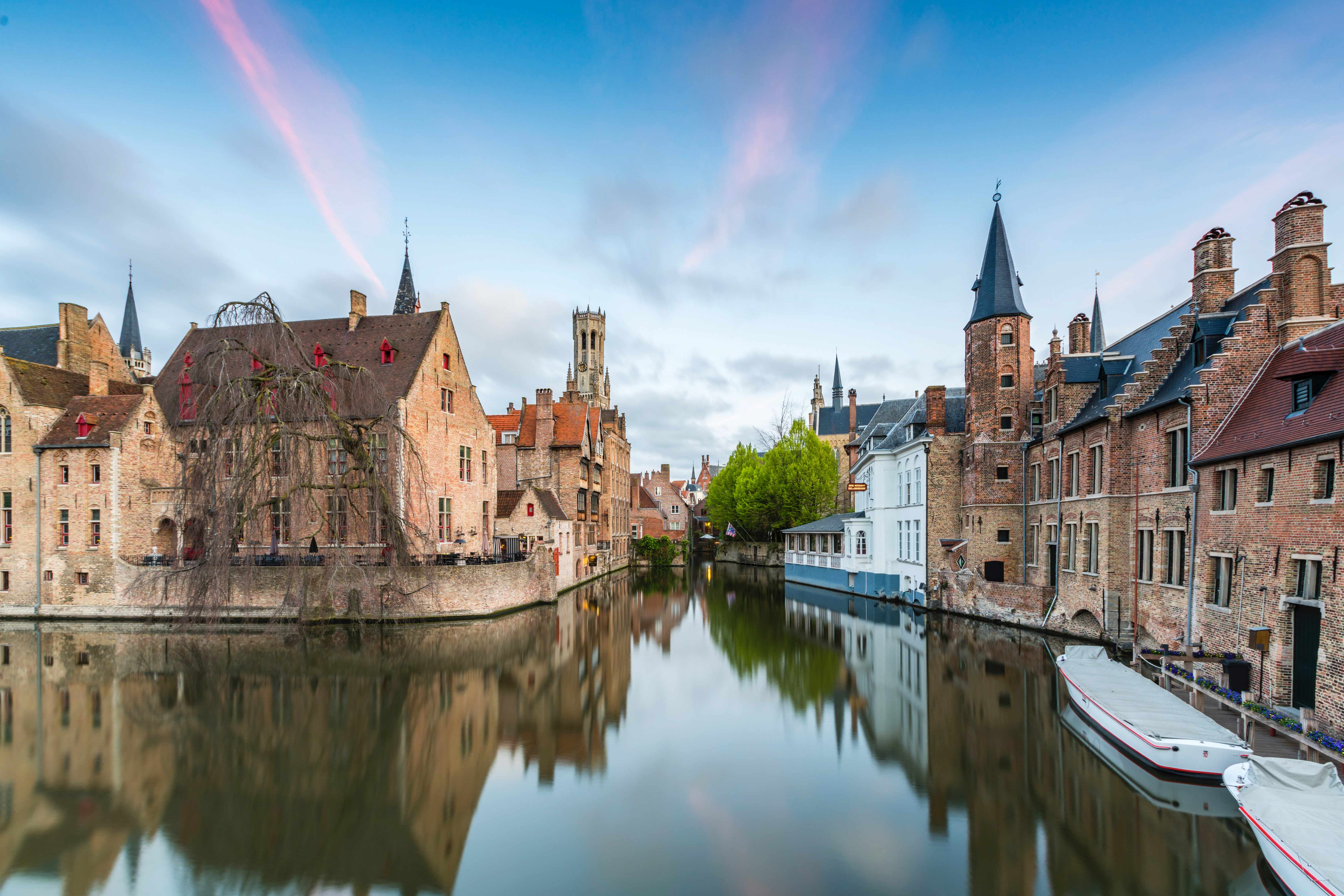 Medieval buildings lining the Dijver canal in the centre of the Belgian city of Bruges. (Getty Images)